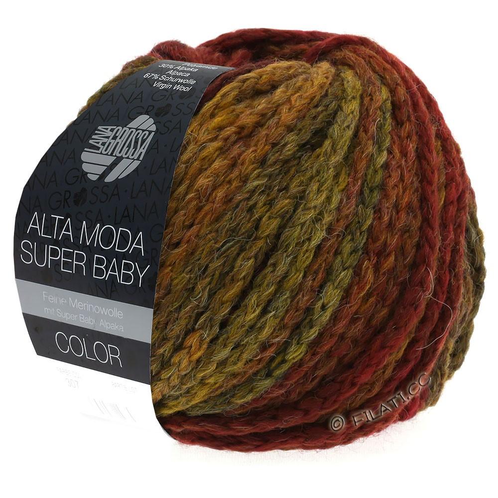 Lana Grossa ALTA MODA SUPER BABY  Color   302-donker rood/mosterd/baksteenrood/bruin