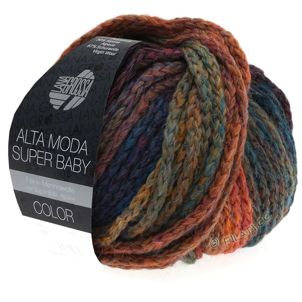 Lana Grossa ALTA MODA SUPER BABY  Color   304-koper/mosterd/petrol/donker blauw/violet