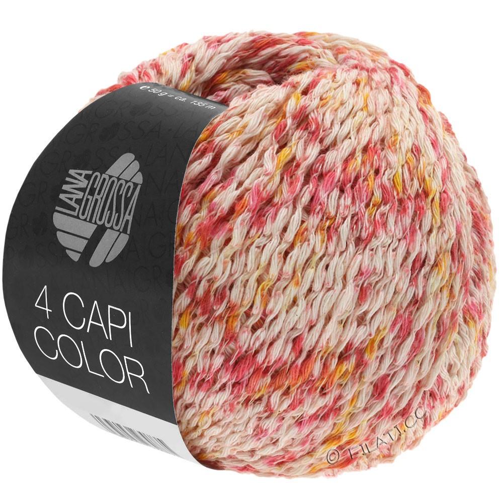 Lana Grossa 4 CAPI Color | 105-natuur/rood/zonnegeel/felroze