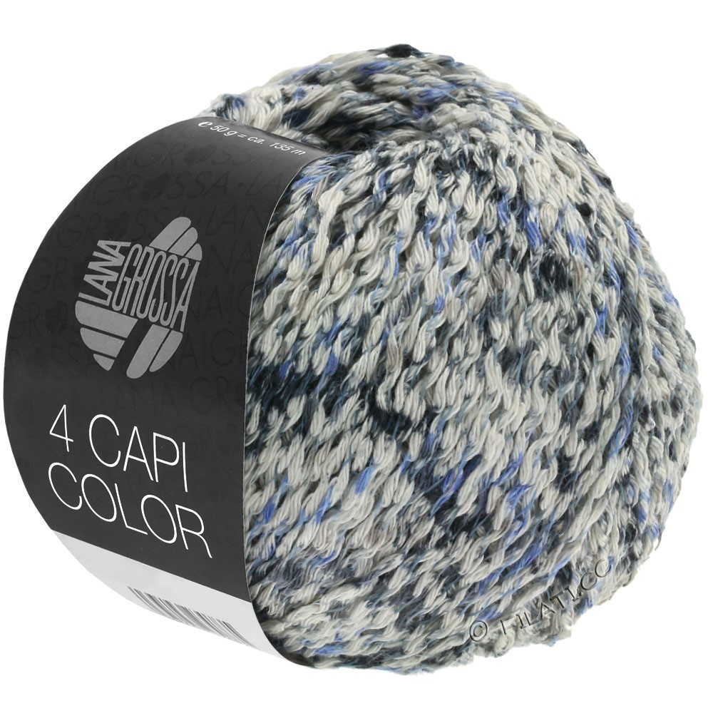 Lana Grossa 4 CAPI Color | 107-natuur/jeans/donker blauw/grijs