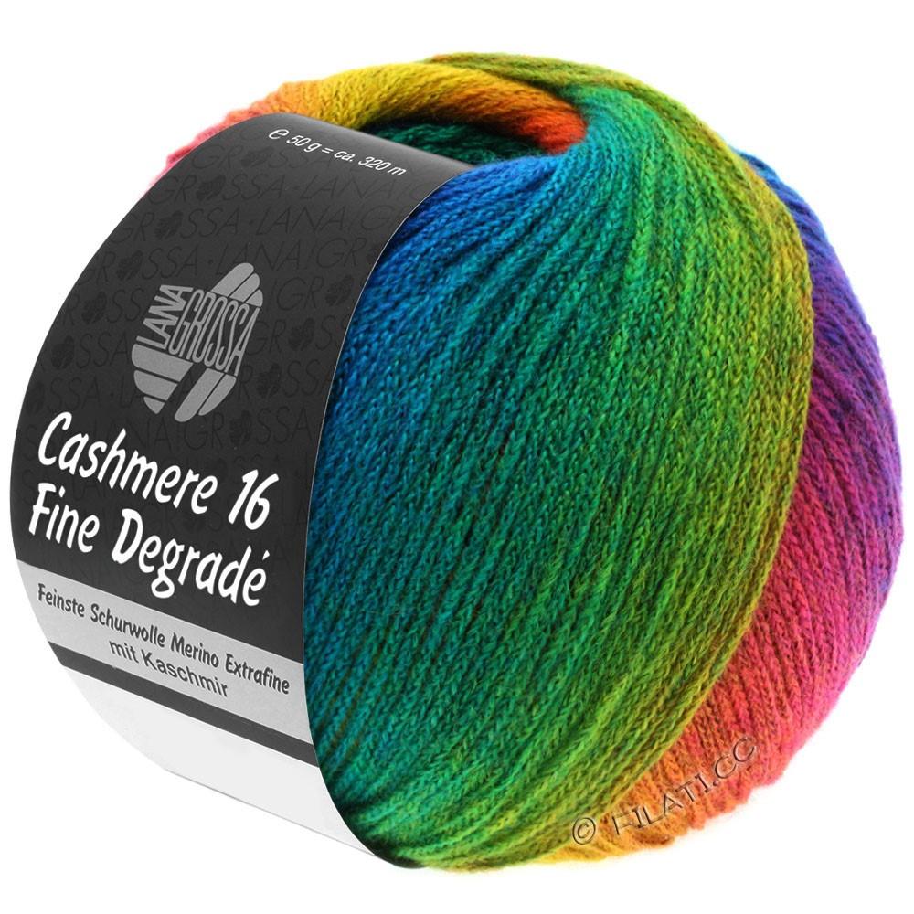 Lana Grossa CASHMERE 16 FINE Uni/Degradé | 104-mosterdgeel/roest/gentiaanblauw/turkoois blauw/smaragd/rood violet