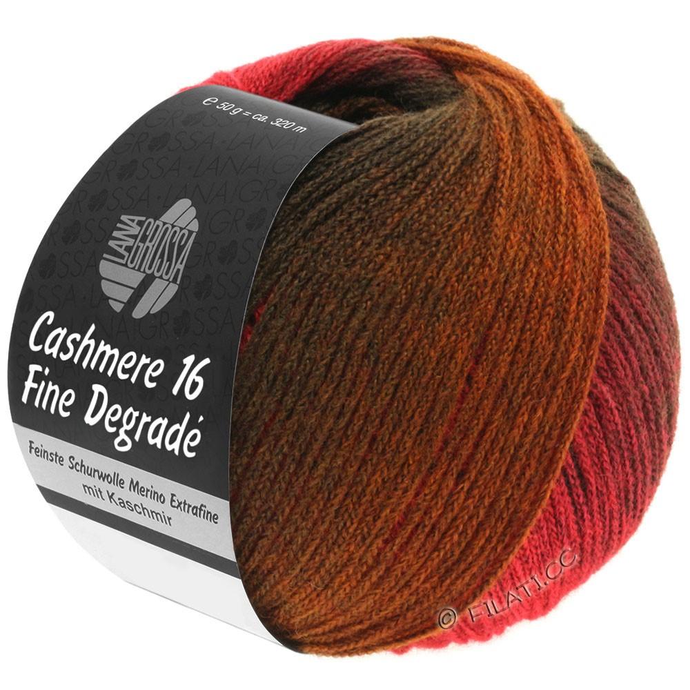 Lana Grossa CASHMERE 16 FINE Uni/Degradé | 105-donker rood/licht rood/chocoladebruin