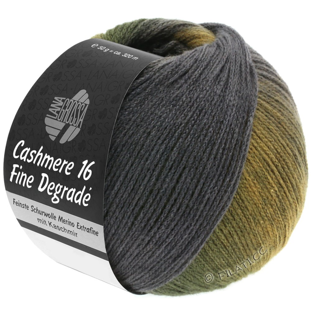 Lana Grossa CASHMERE 16 FINE Uni/Degradé | 108-barnsteen/kaki/donker groen/donker grijs/grijs violet