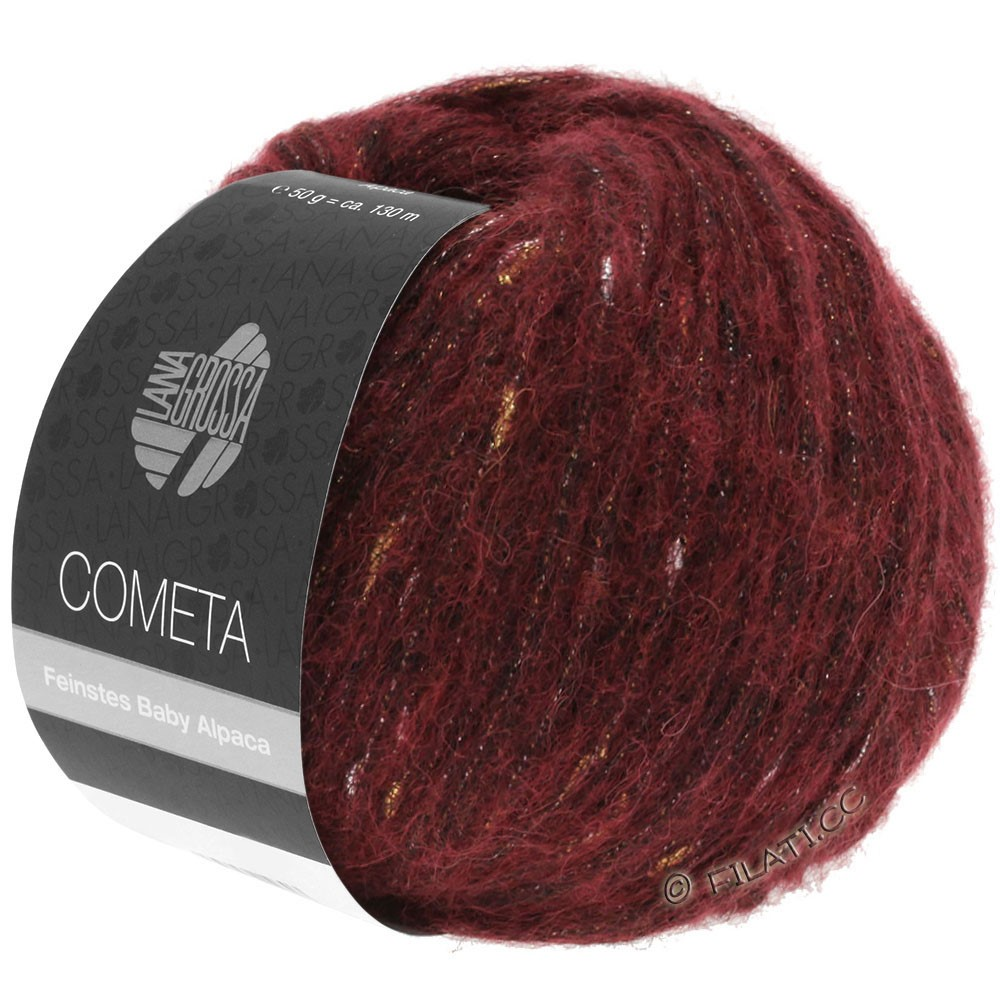 Lana Grossa COMETA | 005-donker rood/goud/zilver