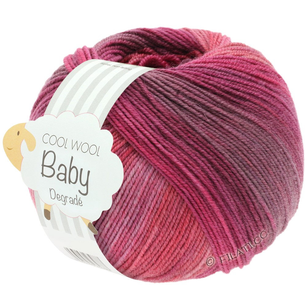 Lana Grossa COOL WOOL Baby Degradé | 507-bes/antieke violet/framboos