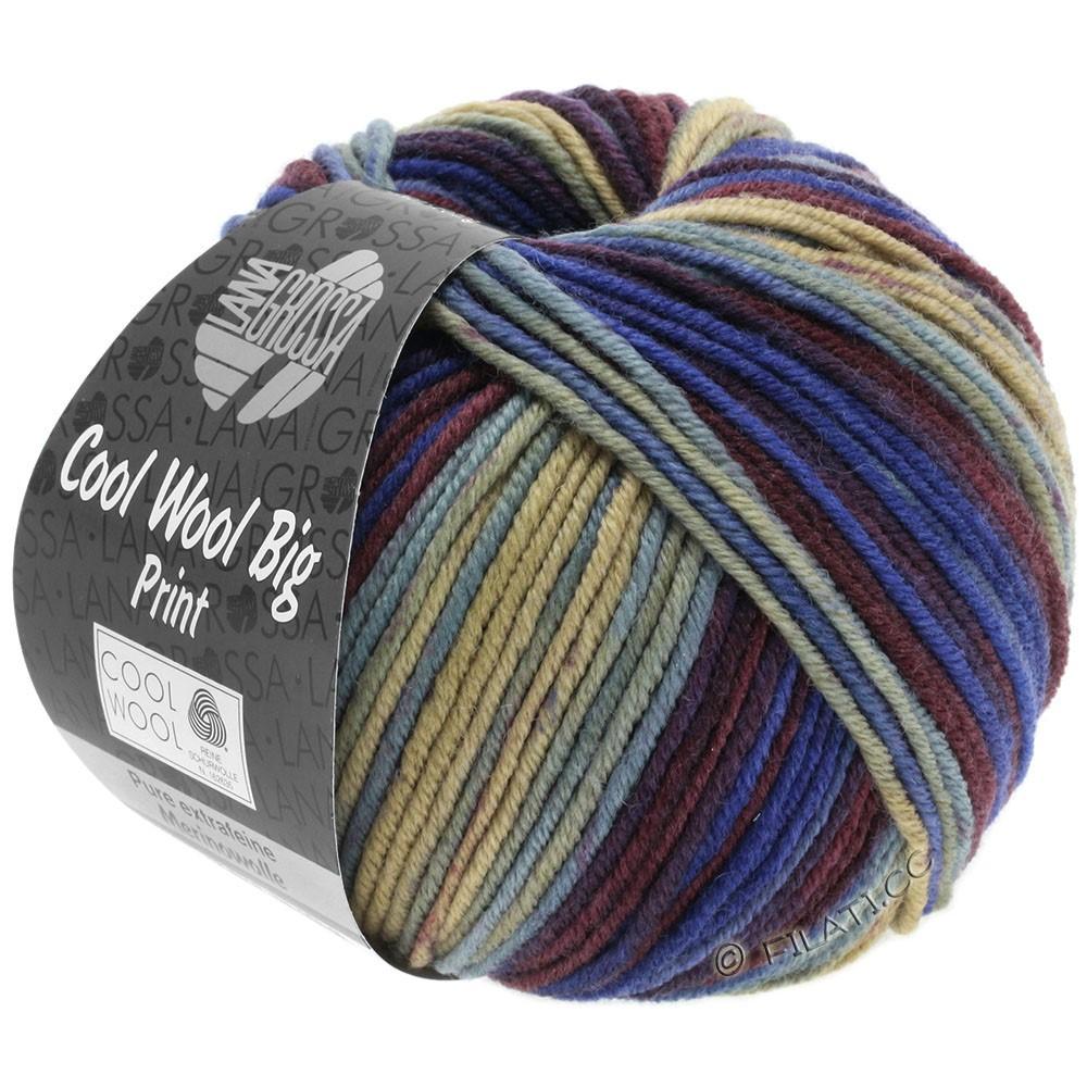 Lana Grossa COOL WOOL Big Uni/Melange/Print | 3010-beige/licht blauw/marine/wijnrood/blauw violet