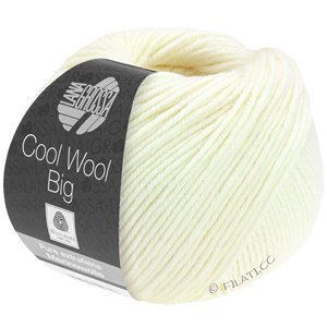 Lana Grossa COOL WOOL Big  Uni/Melange | 0601-ruwe witte