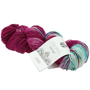 Lana Grossa COOL WOOL  Hand-dyed | 109-turkoois blauw/rood violet/ruwe witte/petrol
