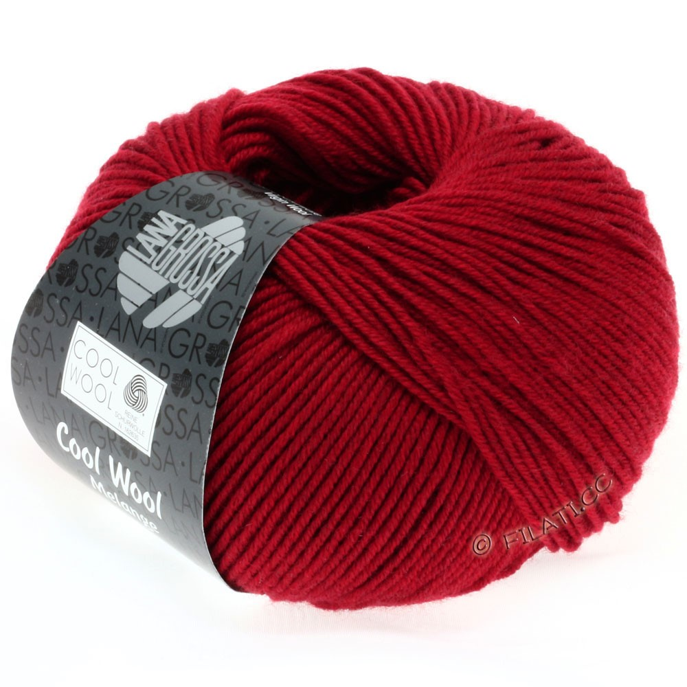 Lana Grossa COOL WOOL   Uni/Melange/Neon | 0102-rood gemêleerd