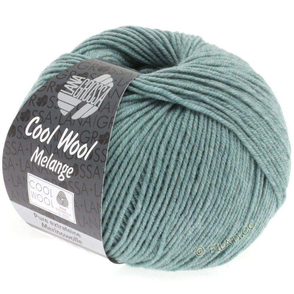 Lana Grossa COOL WOOL   Uni/Melange/Neon | 0132-grijs groen gemêleerd