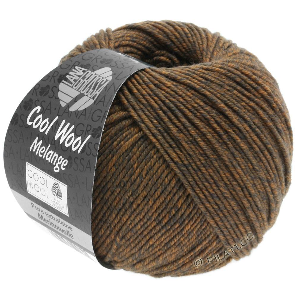 Lana Grossa COOL WOOL   Uni/Melange/Neon | 0138-grijs bruin/oranje gemêleerd