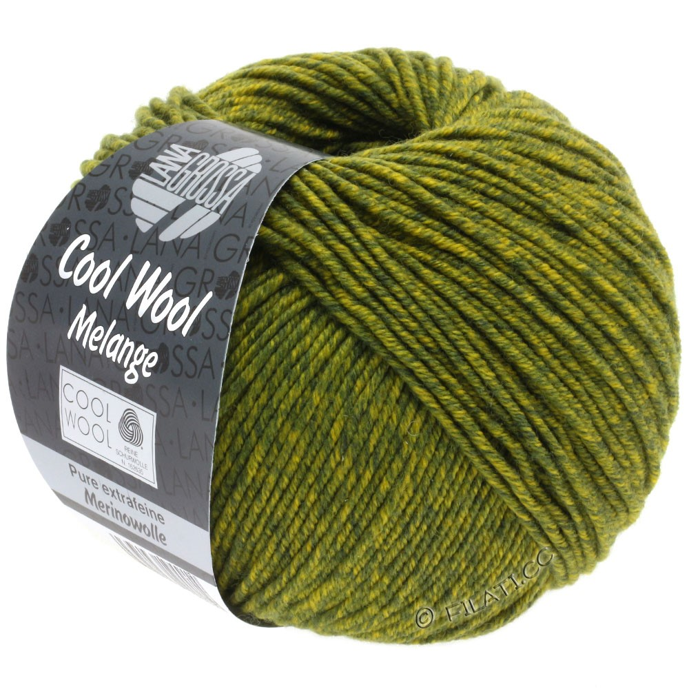 Lana Grossa COOL WOOL   Uni/Melange/Neon | 0140-donker olijf/olijf geel gemêleerd