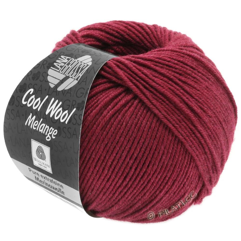 Lana Grossa COOL WOOL   Uni/Melange/Neon | 0142-wijnrood gemêleerd