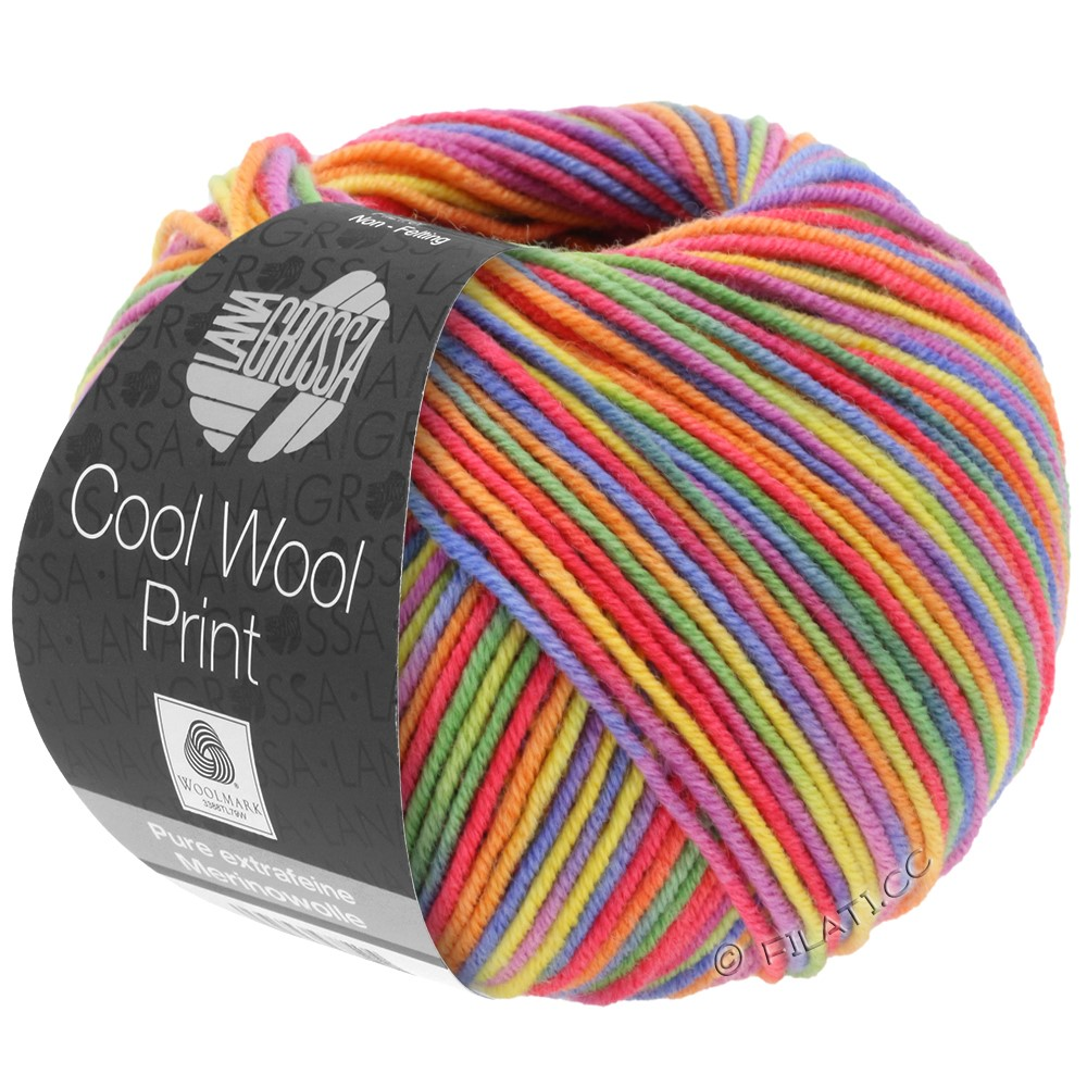 Lana Grossa COOL WOOL  Print | 703-paars/groen/framboos/oranje/geel/blauw