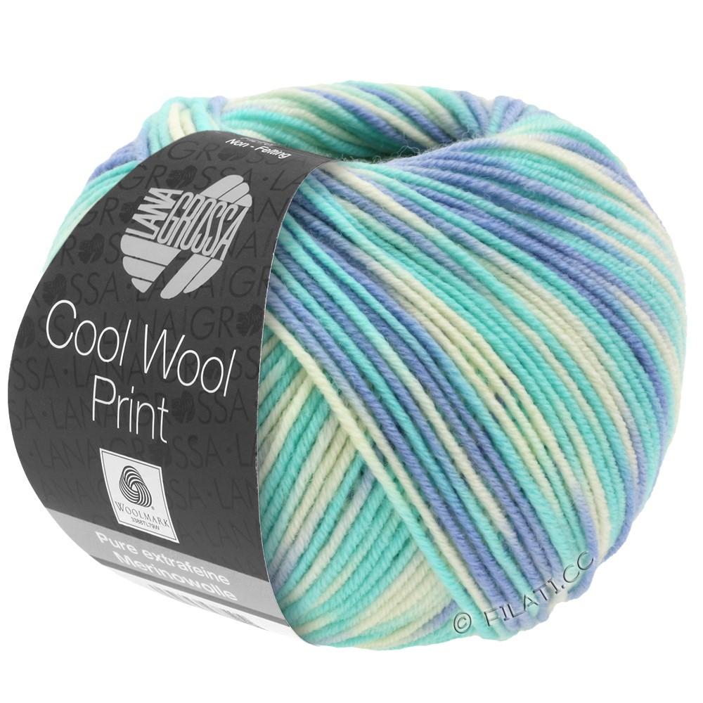 Lana Grossa COOL WOOL  Print | 728-hemelsblauw/lichtturkoois/ecru