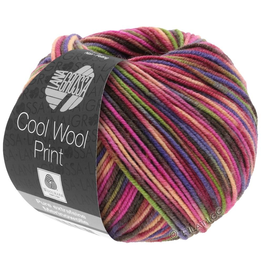 Lana Grossa COOL WOOL  Print | 749-wijnrood/felroze/geelgroen/blauw violet/zalm/mokka