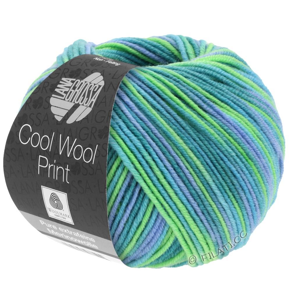 Lana Grossa COOL WOOL  Print | 757-turkoois/petrol/hemelsblauw/licht groen