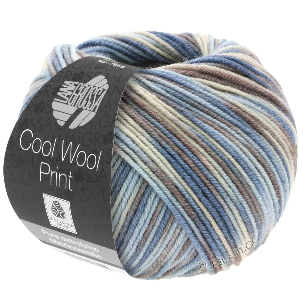 Lana Grossa COOL WOOL  Print | 763-licht blauw/grège/grijs bruin/blauwgrijs