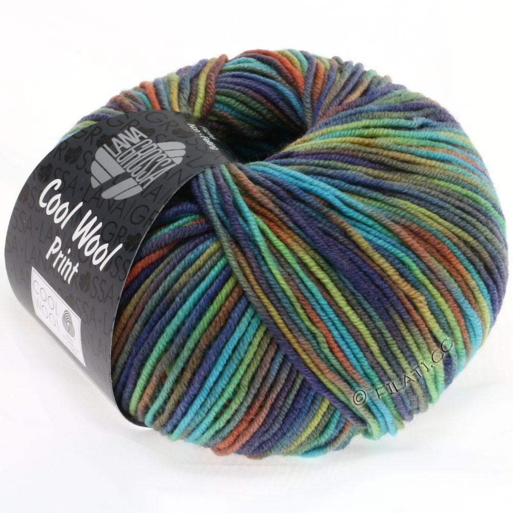 Lana Grossa COOL WOOL  Print | 774-bruin/oranje/licht groen/turkoois/jeans