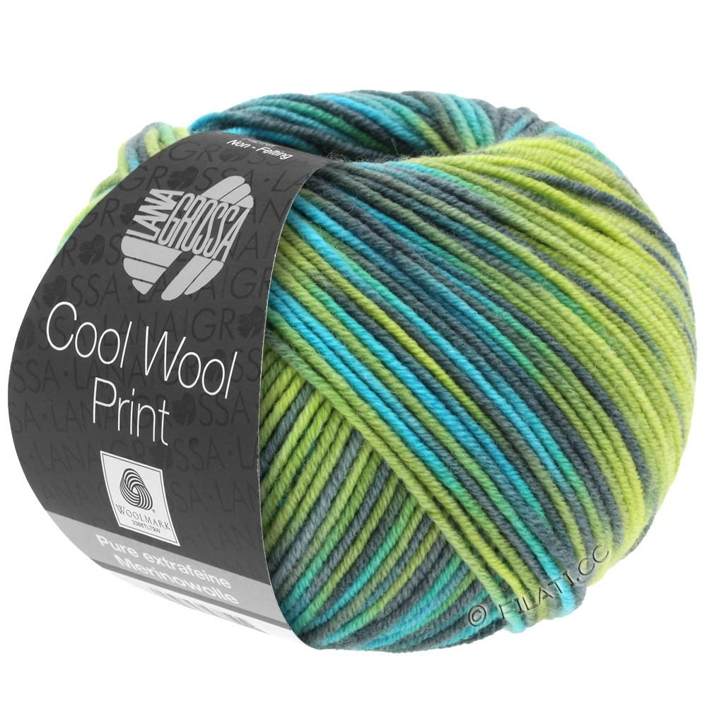 Lana Grossa COOL WOOL  Print | 784-geelgroen/turkoois/grijs groen/petrol