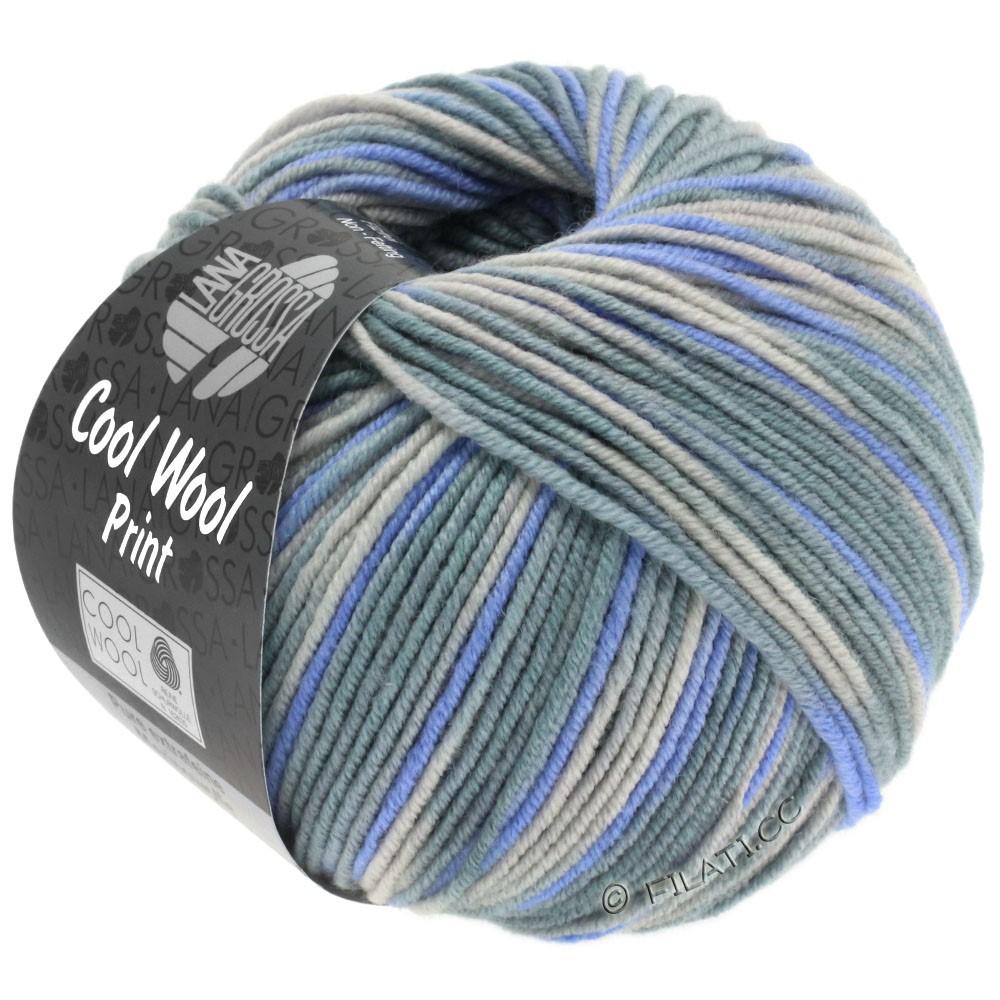 Lana Grossa COOL WOOL  Print | 795-zilvergrijs/groengrijs/shiner blauw