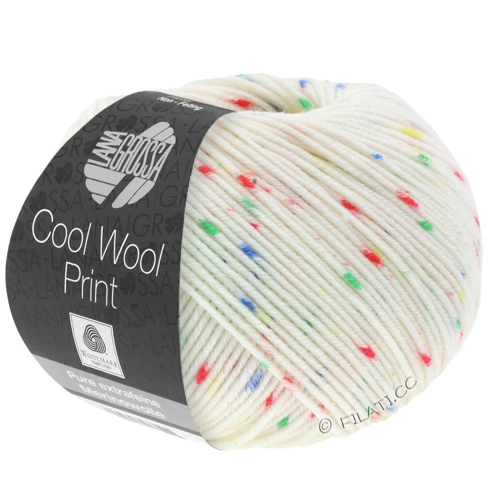 Lana Grossa COOL WOOL  Print | 801-ruwe witte/rood/groen/blauw/geel