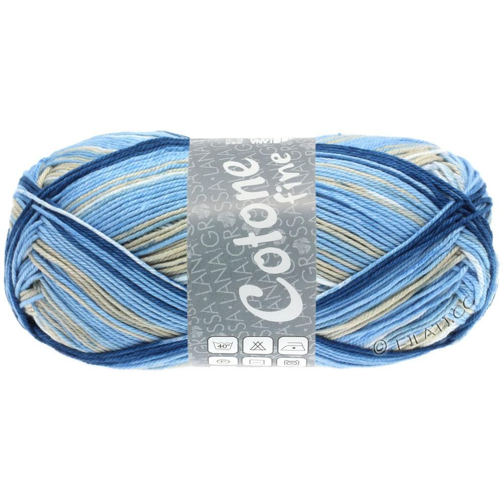 Lana Grossa COTONE FINE Print | 802-wit/licht grijs/licht blauw/midden blauw/marine