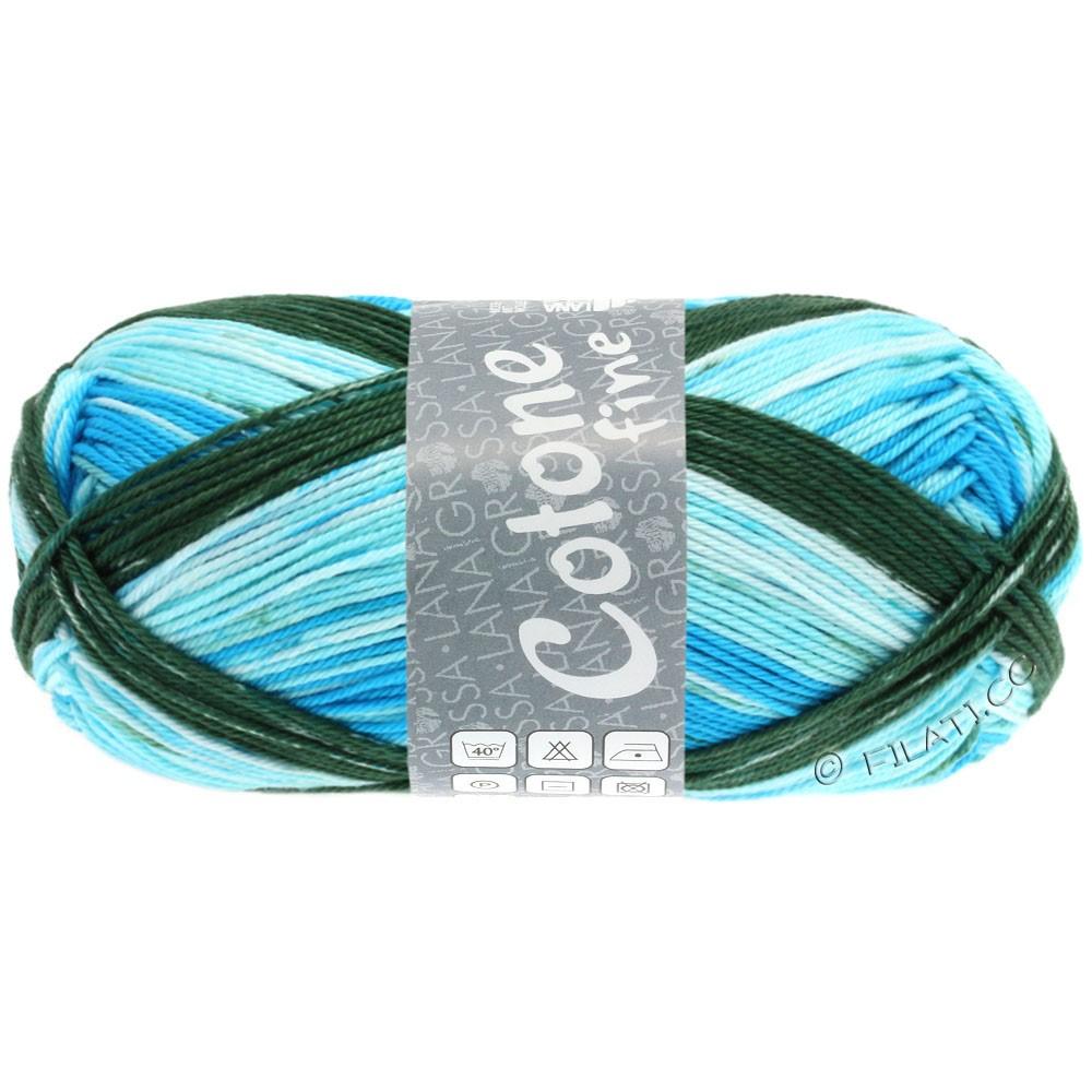 Lana Grossa COTONE FINE Print | 805-wit/licht blauw/turkoois blauw/donker groen