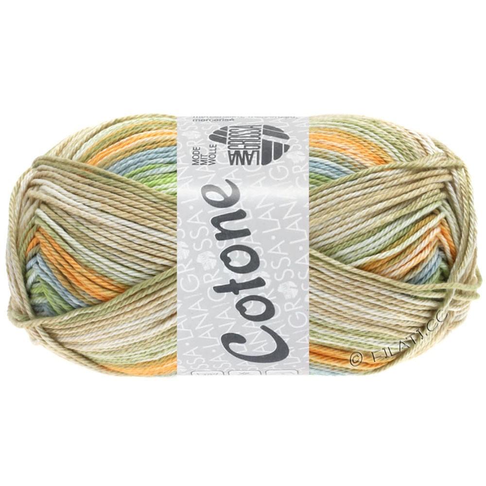 Lana Grossa COTONE  Print/Denim | 252-bleekorange/grijs blauw/beige/zachtgroen/licht kaki