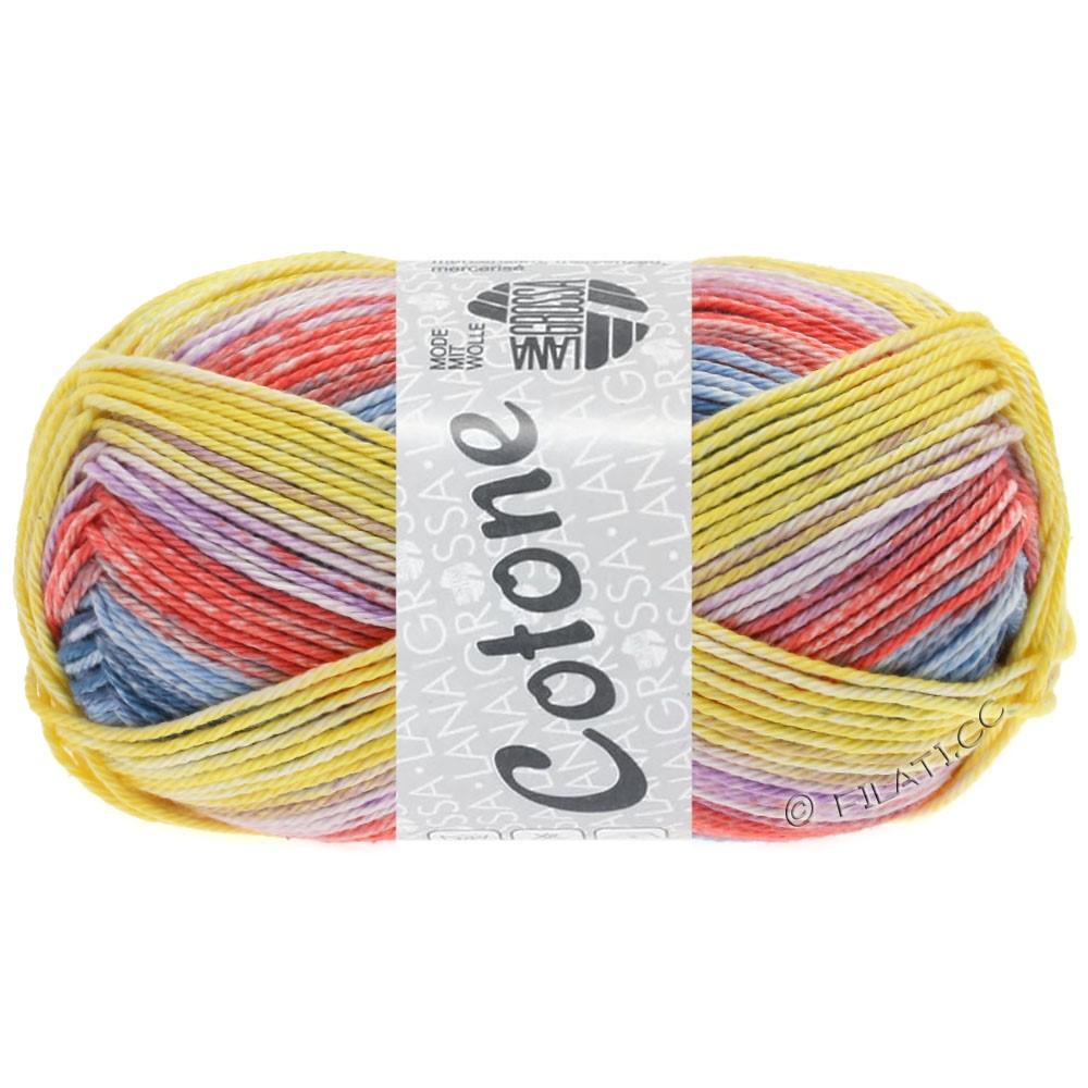 Lana Grossa COTONE  Print/Denim | 256-geel/jeans/sering/licht rood/licht blauw