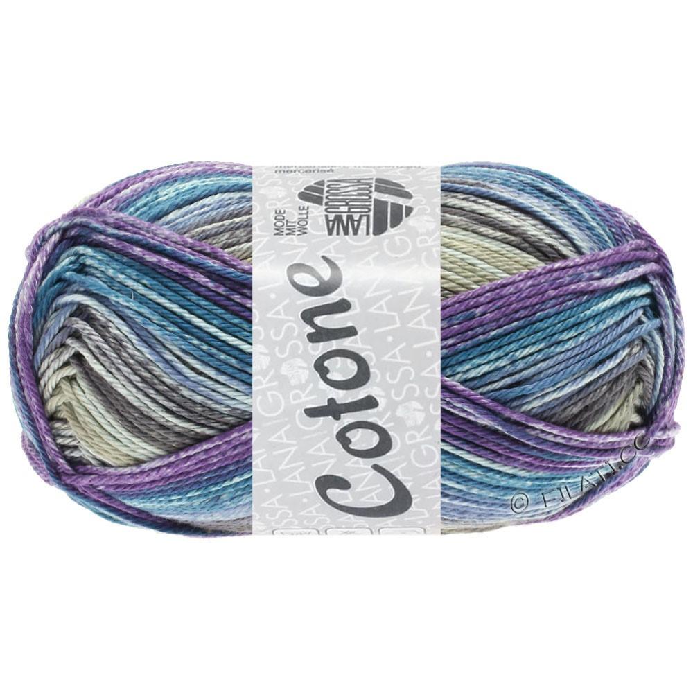 Lana Grossa COTONE  Print/Denim | 257-grège/violet/petrol blauw/jeans/taupe