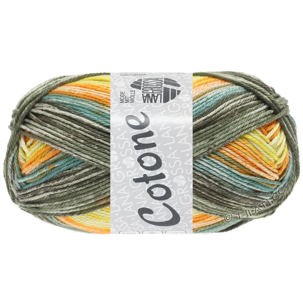 Lana Grossa COTONE  Print/Denim | 258-geel/oranje/kaki/grijs groen