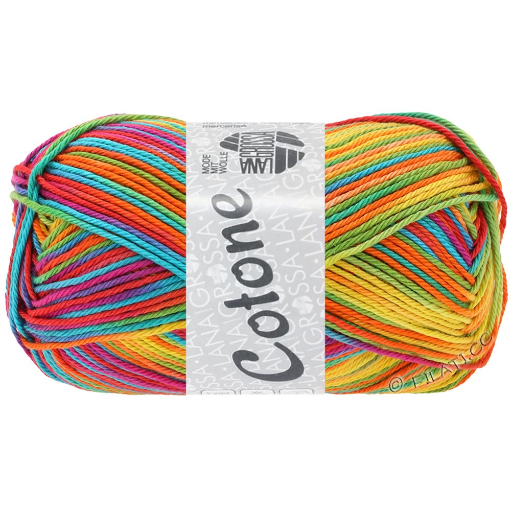 Lana Grossa COTONE  Print/Denim | 306-geel/oranje/turkoois/groen/koraal/violet