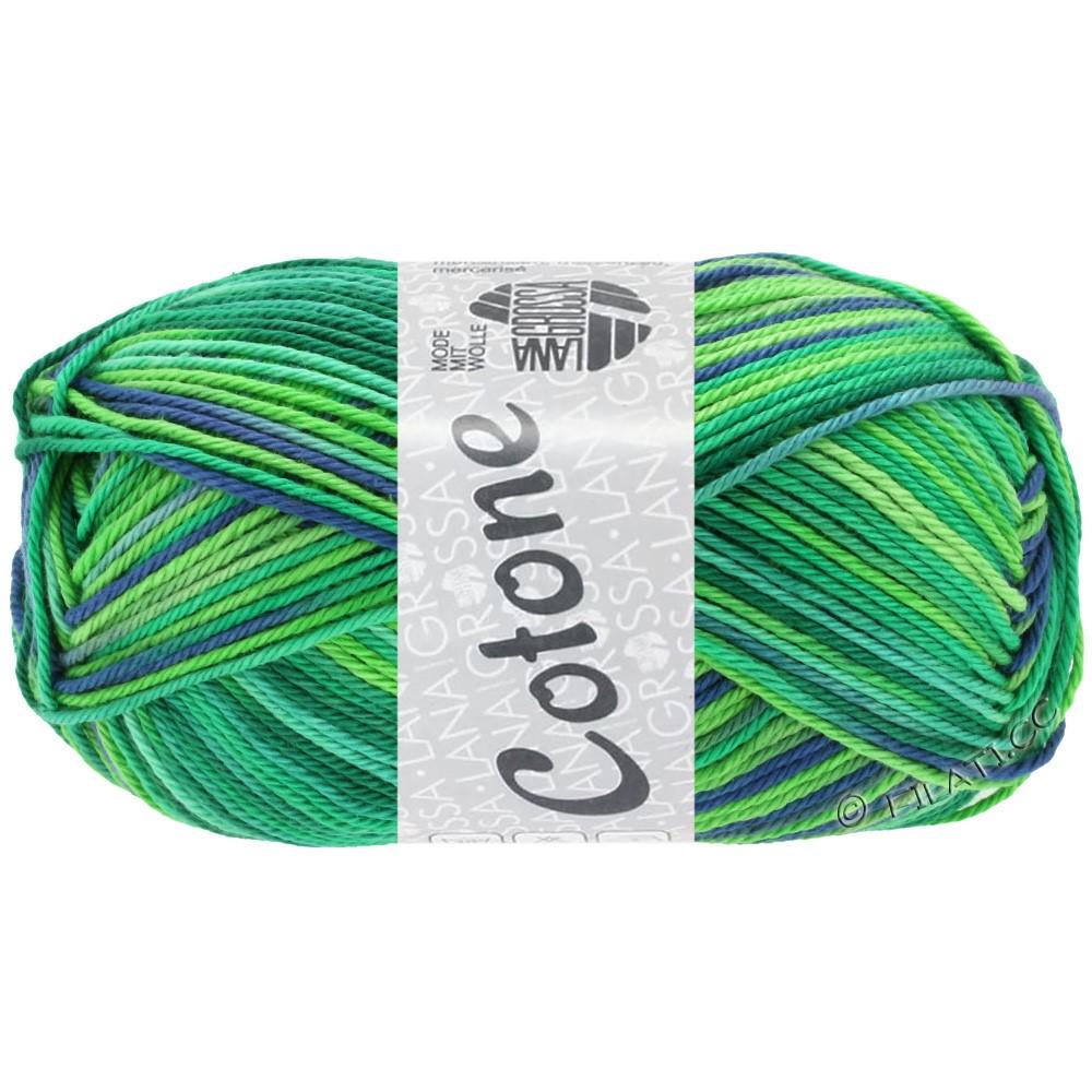 Lana Grossa COTONE  Print/Denim | 311-smaragd/licht groen/petrol/royaal