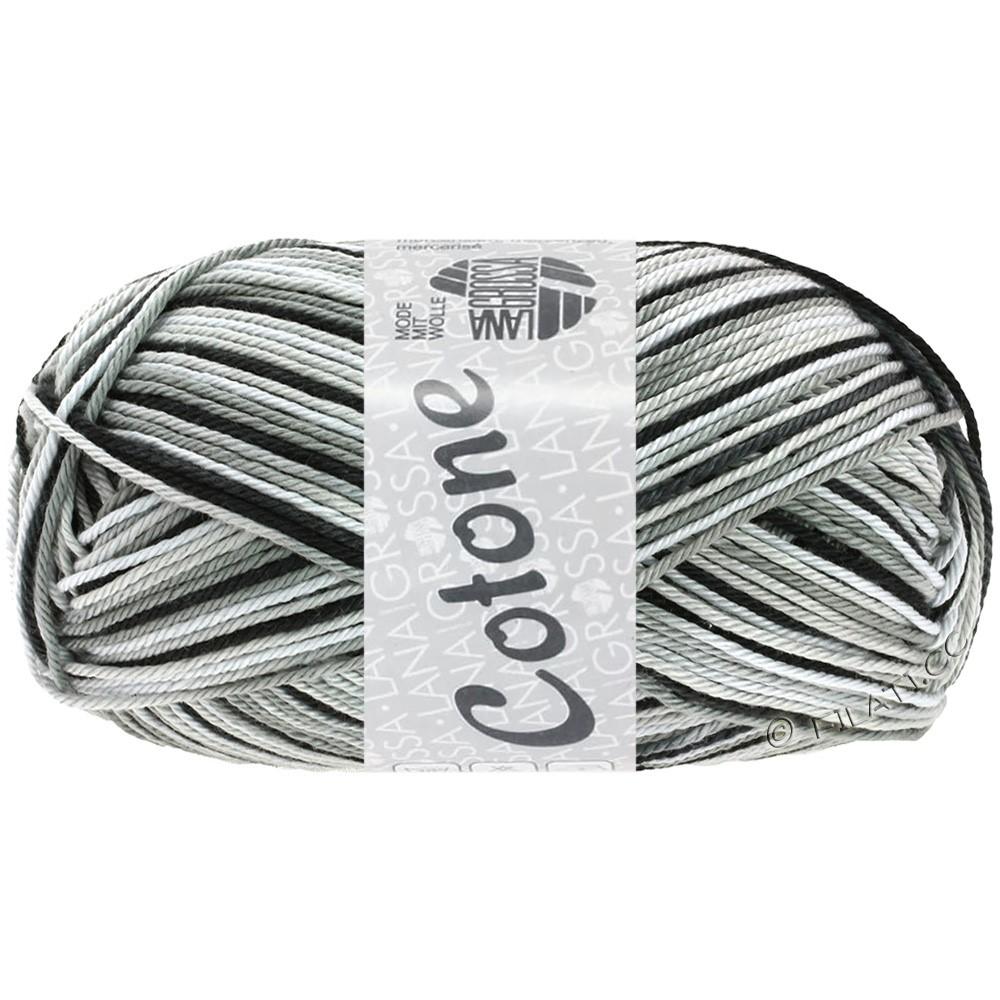 Lana Grossa COTONE  Print/Denim | 317-wit/zilvergrijs/donker grijs/zwart