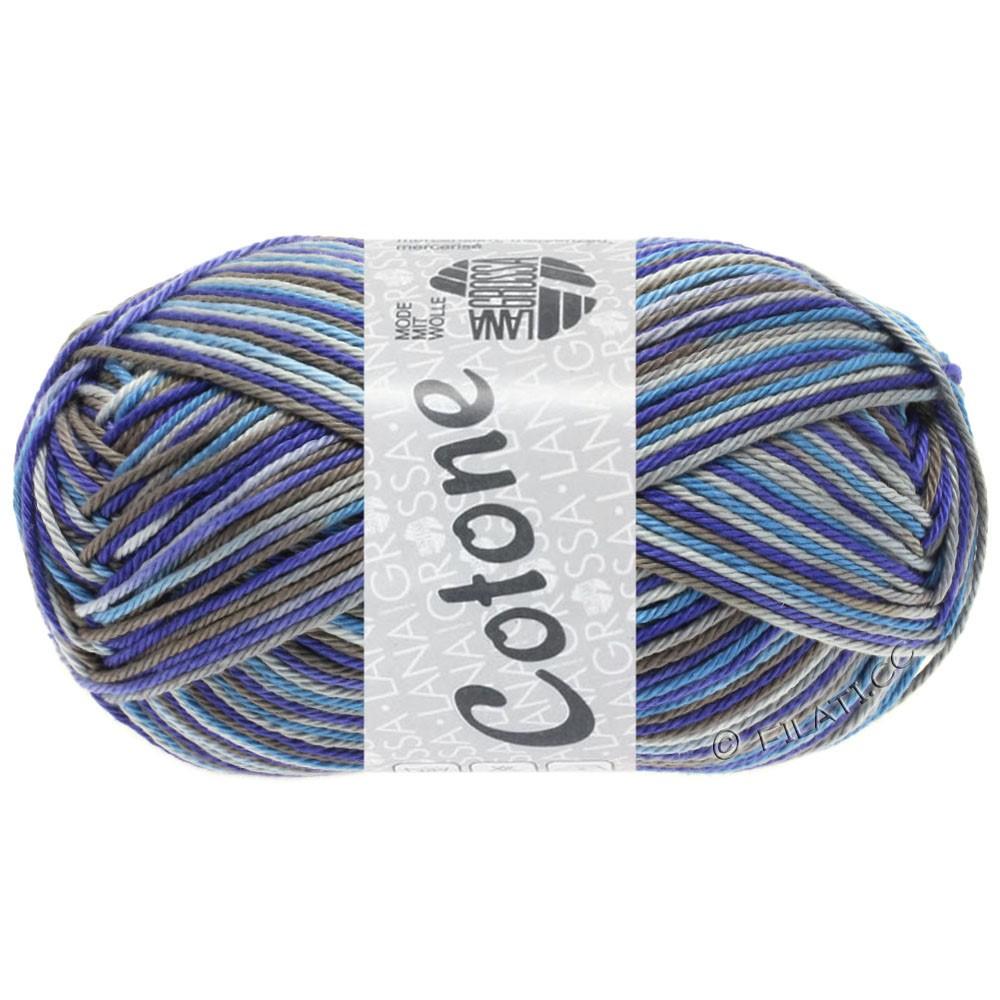 Lana Grossa COTONE  Print/Denim | 326-licht grijs/donker grijs/blauw violet/duifblauw