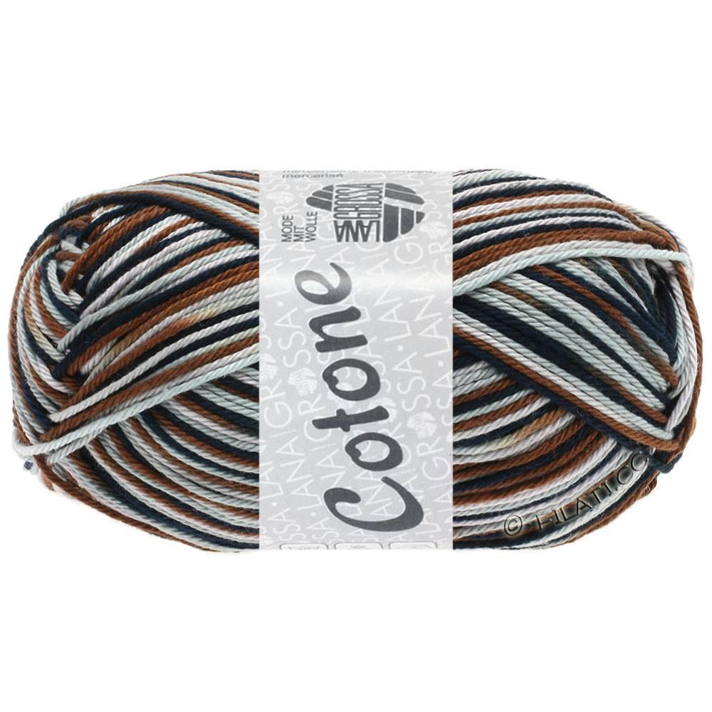 Lana Grossa COTONE  Print/Denim | 329-grijs roze/licht grijs/chocoladebruin/zwart