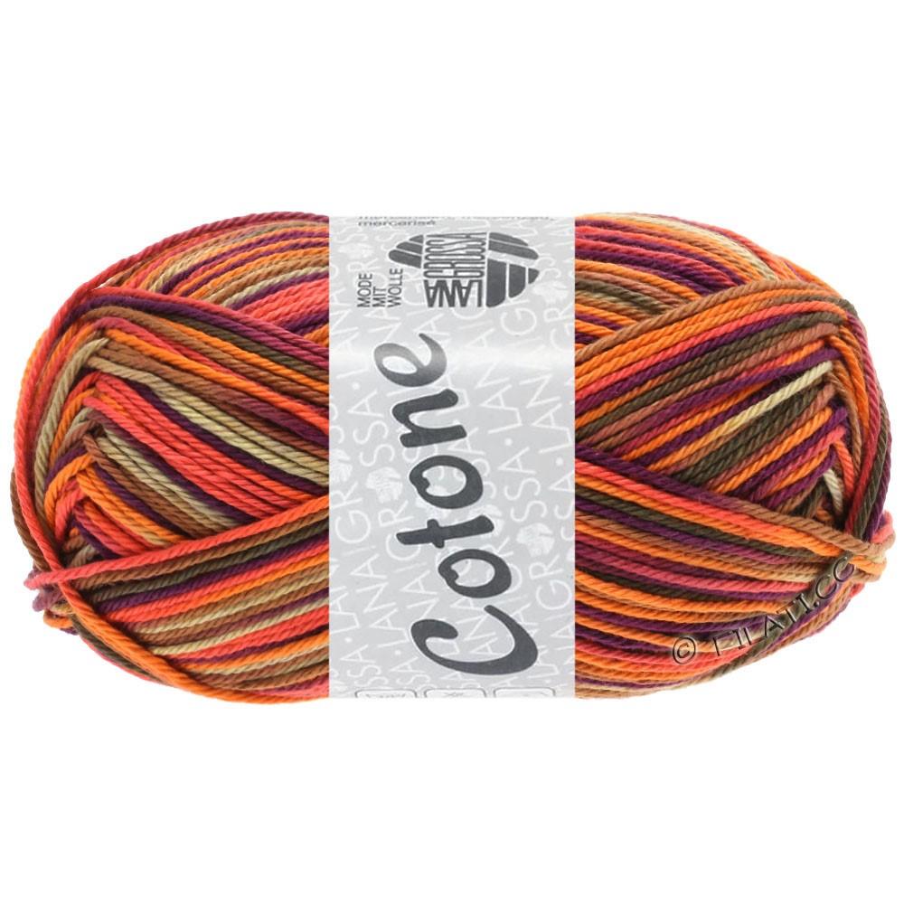 Lana Grossa COTONE  Print/Denim | 334-oranje/beige/terracotta /donker violet/bruin/donker bruin