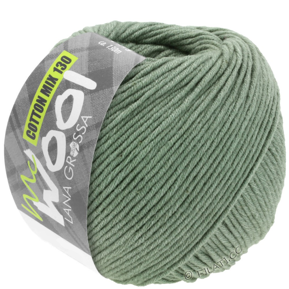 Lana Grossa COTTON MIX 130 (McWool) | 129-grijs groen