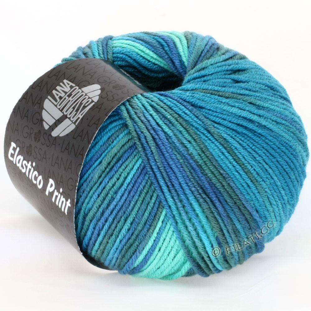 Lana Grossa ELASTICO  Uni/Print | 506-turkoois groen/turkoois blauw/petrol/grijs blauw