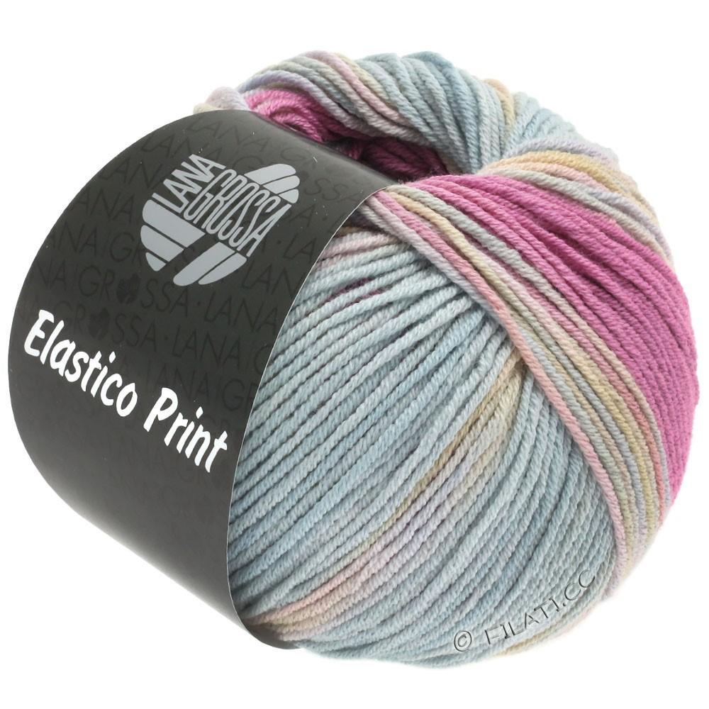 Lana Grossa ELASTICO  Uni/Print | 521-felroze/rose/grijs blauw/geelgroen