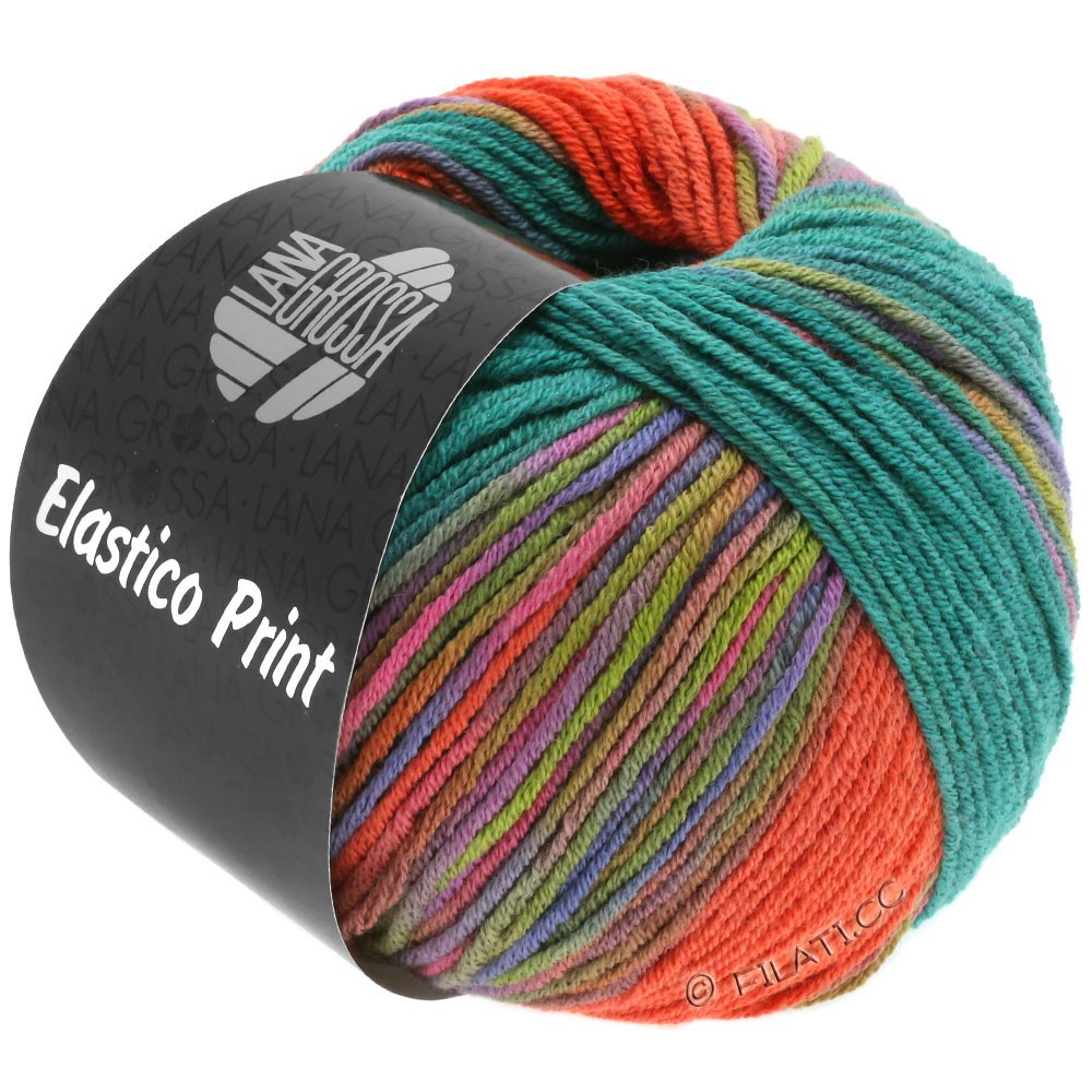 Lana Grossa ELASTICO  Uni/Print | 522-donker groen/koraal/blauw violet/geelgroen