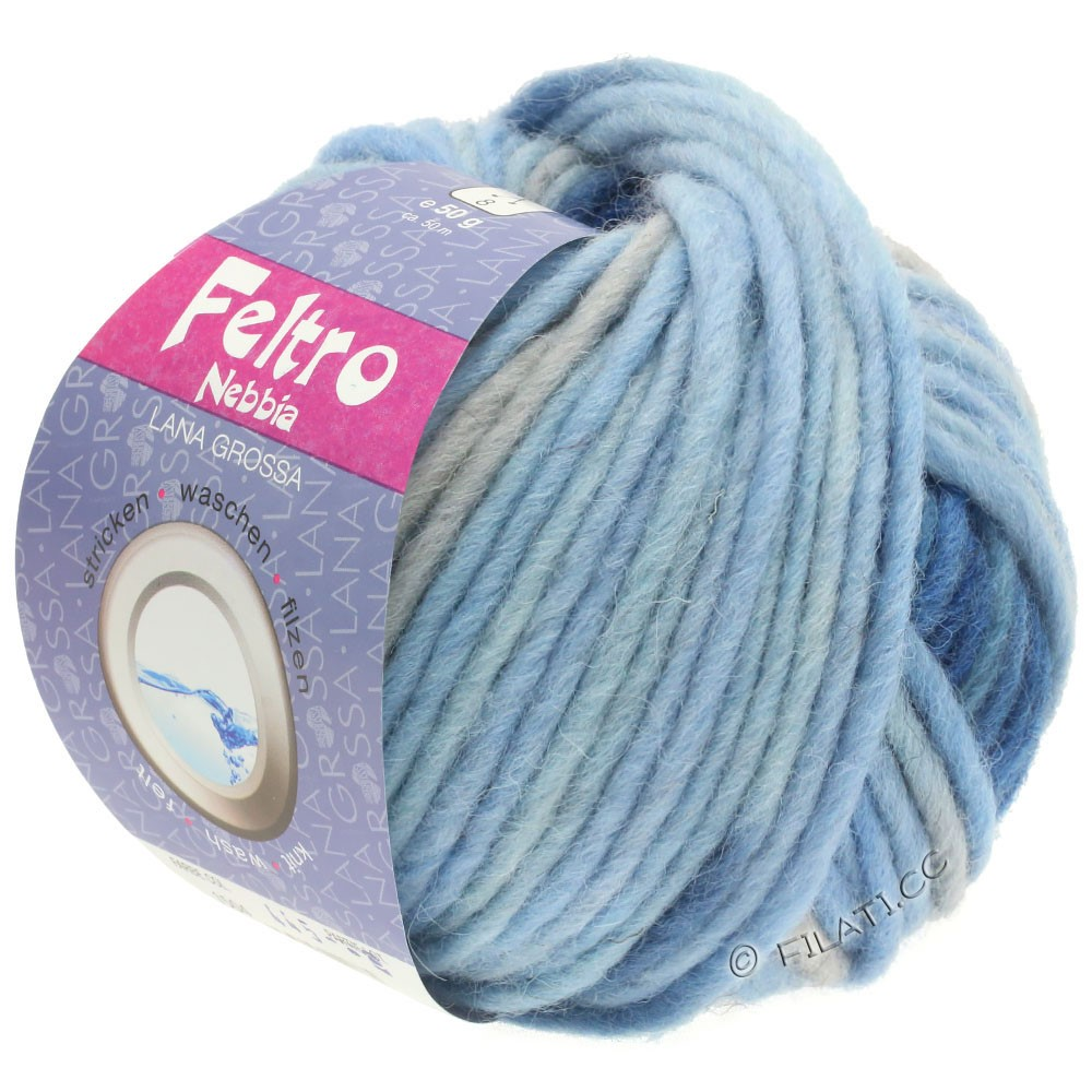 Lana Grossa FELTRO Nebbia | 1504-licht blauw/hemelsblauw/donker blauw/licht grijs