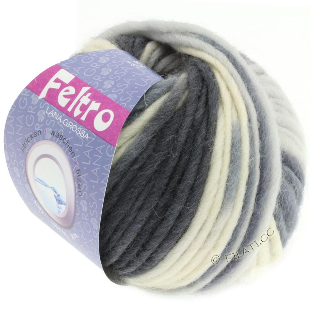 Lana Grossa FELTRO Print | 331-ruwe witte/licht grijs/donker grijs