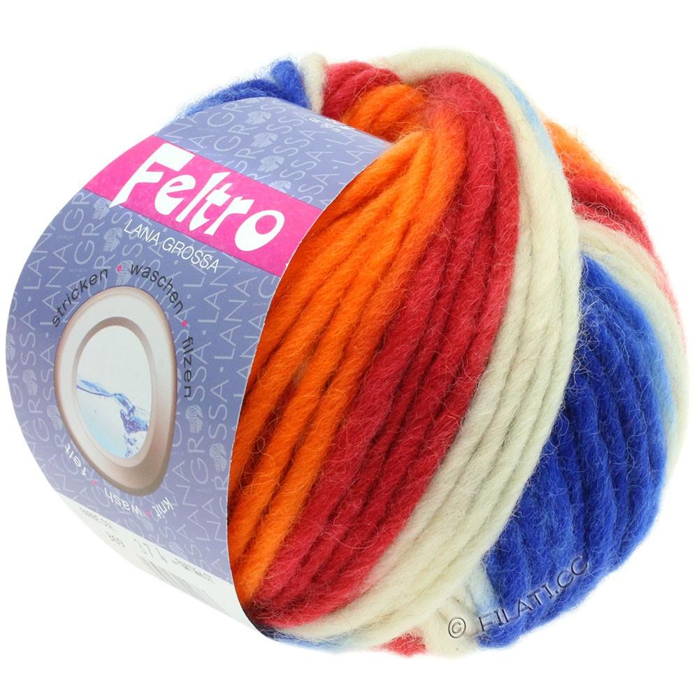 Lana Grossa FELTRO Print | 369-baksteenrood/oranje/royaal/ruwe witte