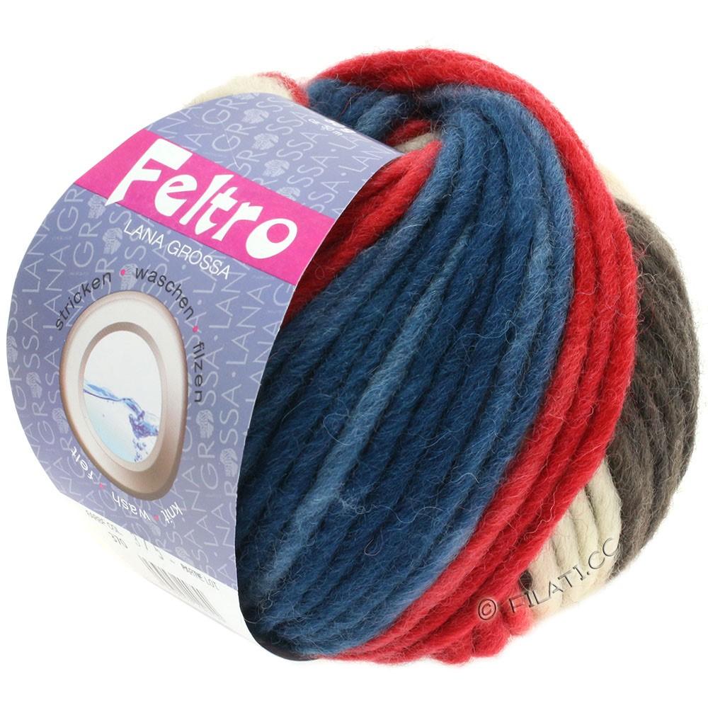 Lana Grossa FELTRO Print | 370-framboos/grijs bruin/beige/jeans