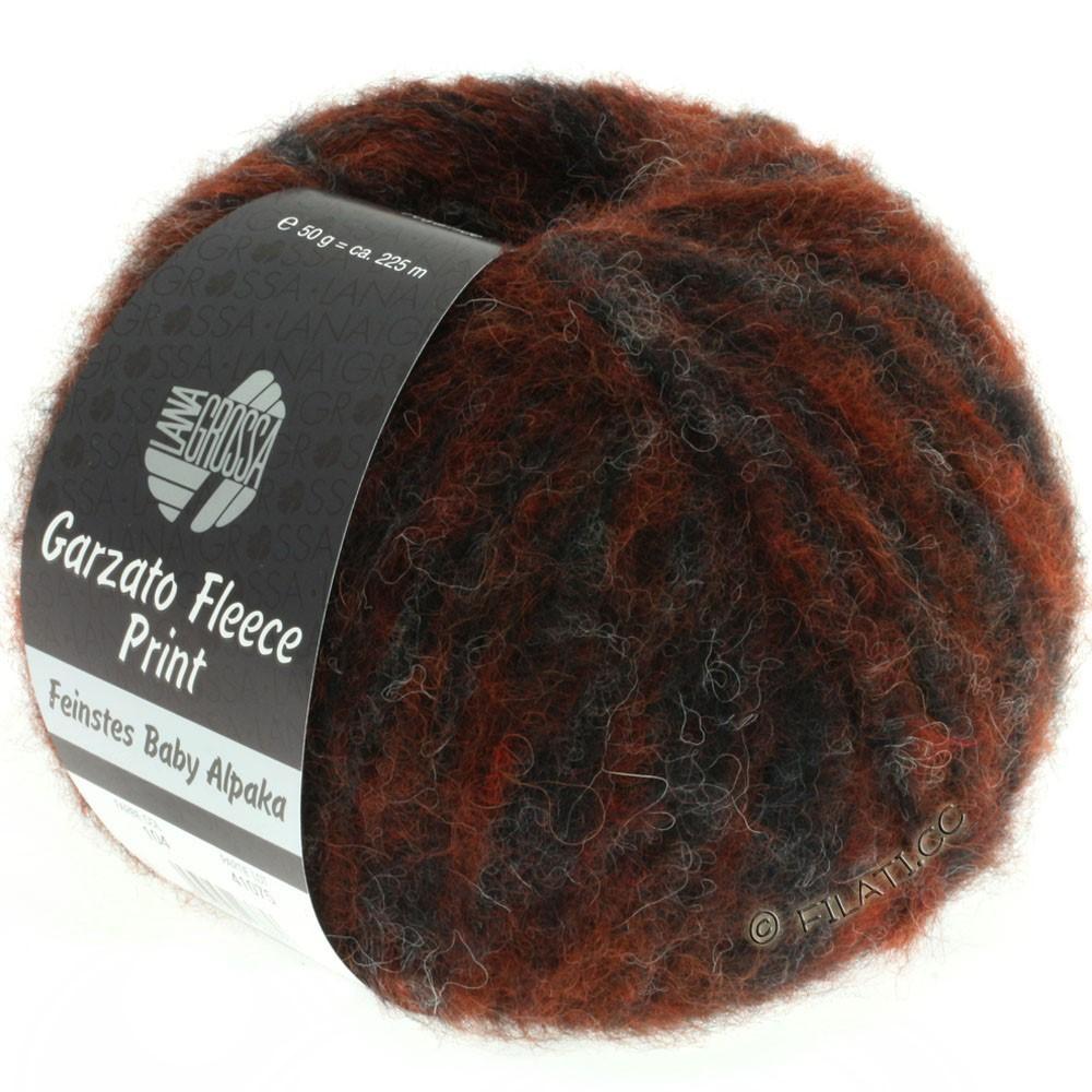 Lana Grossa GARZATO Fleece Uni/Print/Degradé   104-roest/natuur/zwart