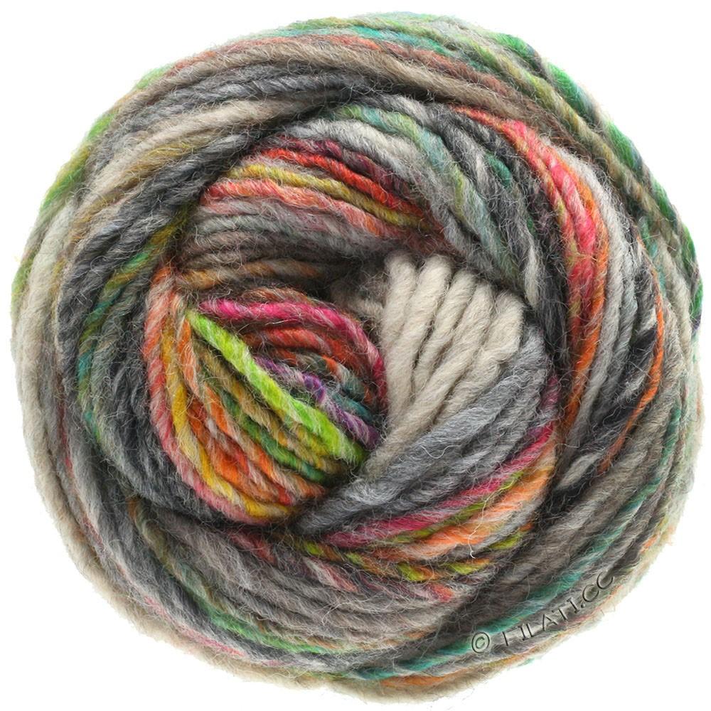 Lana Grossa GOMITOLO 100   103-grijs groen/licht grijs/groengeel/smaragd/oranje/antraciet