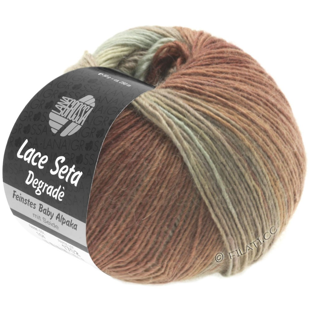 Lana Grossa LACE Seta Degradé | 115-natuur/groengrijs/noga/chocoladebruin