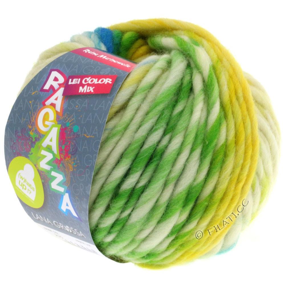 Lana Grossa LEI Moulinè/Color Mix/Spray (Ragazza) | 255-geel/natuur/turkoois/geelgroen